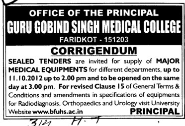 Major Medical Equipments (Guru Gobind Singh Medical College)