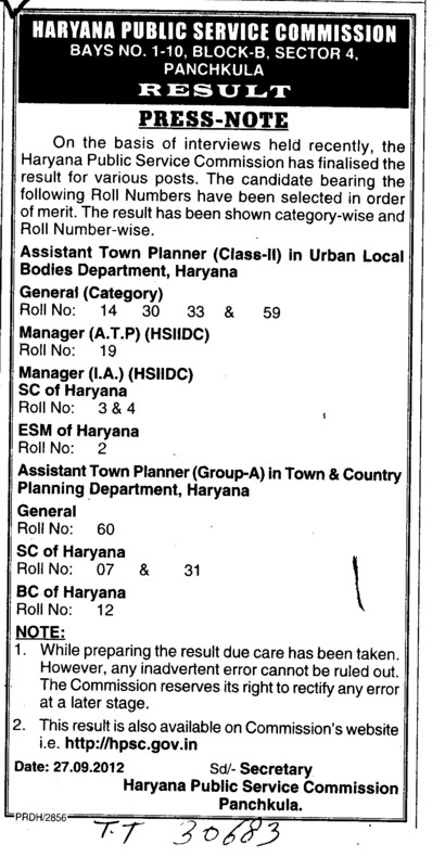 Asstt Town planner and Manager etc (Haryana Public Service Commission (HPSC))