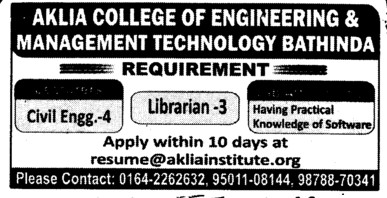 Librarian and Civil engg (Aklia Institute of Engineering and Technology)