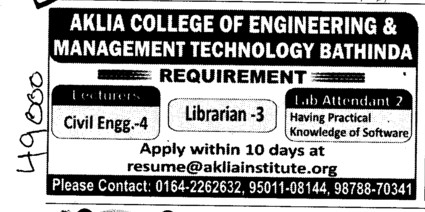 Librarian and Lab attendent etc (Aklia Institute of Engineering and Technology)