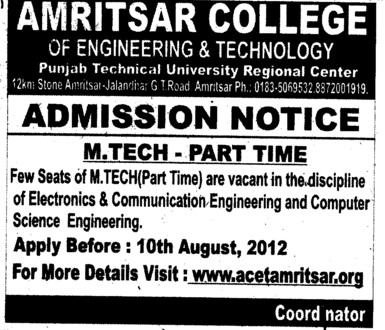 MTech course (Amritsar College of Engineering and Technology ACET Manawala)