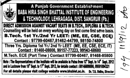 BTech Course (Baba Hira Singh Bhattal Institute of Engineering and Technology (BHSBIET))