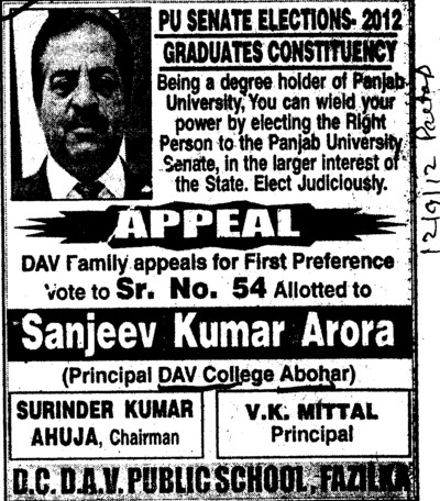 First prefernce vote to Sanjeev Kumar Arora (DAV College)