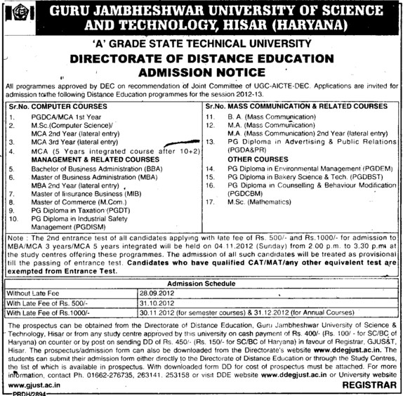 UG and PG Courses (Guru Jambheshwar University of Science and Technology (GJUST))