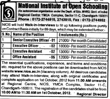 Executive Officer and Office Assistant etc (National Institute of Open Schooling)