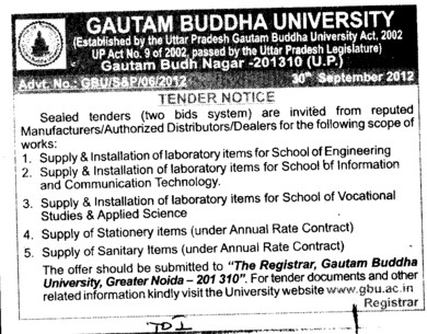 Supply and installation of Laboratory items (Gautam Buddha University (GBU))