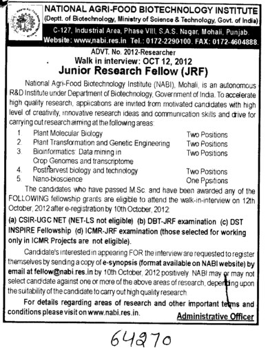 JRF (National Agri Food Bio Technology Institute (NABI))