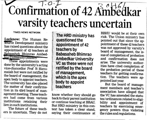 Confirmation of 42 Ambedkar varsity teachers uncertain (Babasaheb Bhimrao Ambedkar University)