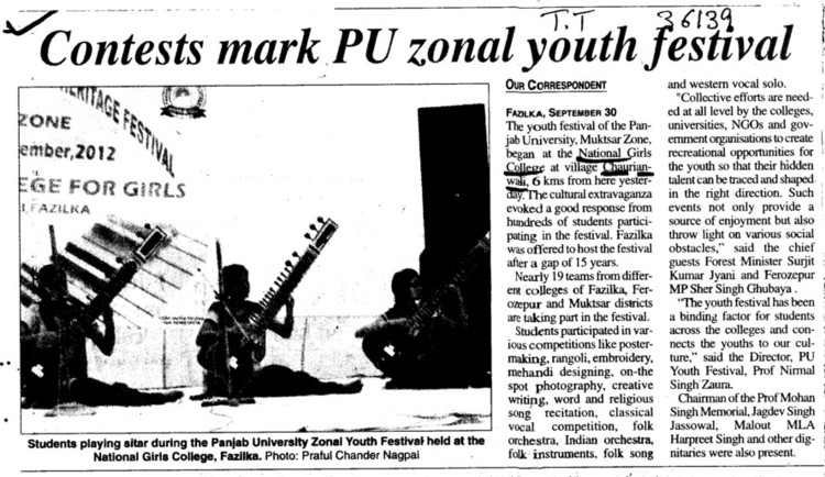 Contests mark PU zonal youth festival (National College for Girls)