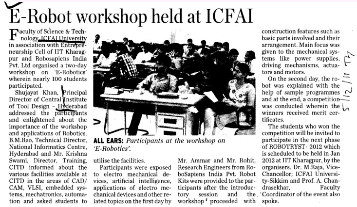 E Robot workshop held at ICFAI (Institute of Chartered Financial Analysts Of India (ICFAI))