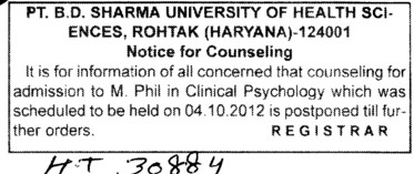 M Phil in Clinical Sychology (Pt BD Sharma University of Health Sciences (BDSUHS))