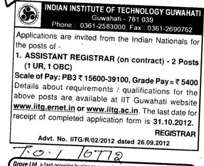 Asstt Registrar (Indian Institute of Technology IIT)