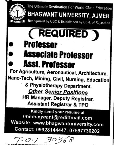 Prof, Asstt Professor and Associate Professor (Bhagwant University)