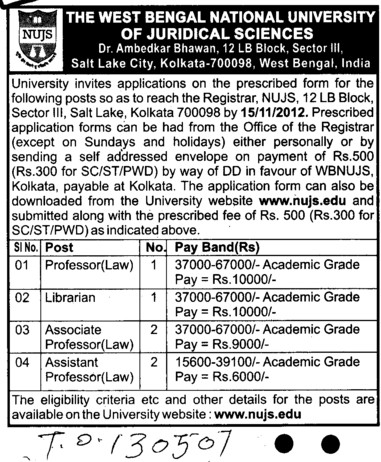 Librarian and Asstt Professor etc (West Bengal National University of Juridical Sciences)
