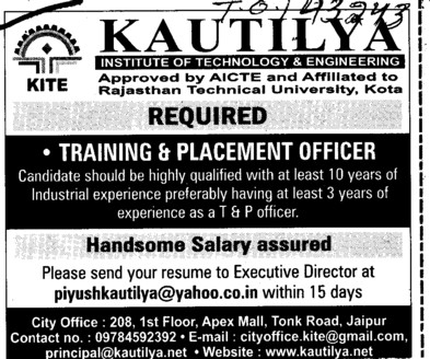 Training and Placement Officer (Kautilya Institute of Technology and Engineering)