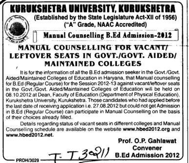 BEd Course (Kurukshetra University)