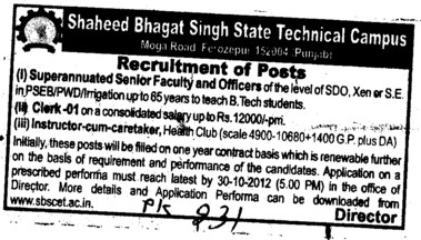 Clerk and Instructor etc (Shaheed Bhagat Singh State (SBBS) Technical Campus)