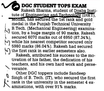 DGC Student tops exam (Doaba Institute of Engineering and Technology Ghataur)