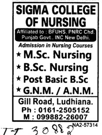 MSc Nursing and BSc Nursing Courses etc (Sigma College of Nursing)