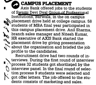 Campus Placement (Swami Devi Dyal Group of Professional Institutes)