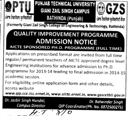 Quality Improvement Program (Giani Zail Singh College of Engineering and Technology GZCET)