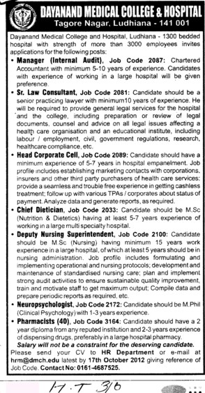 Sr Law Consultant and Pharmacist etc (Dayanand Medical College and Hospital DMC)