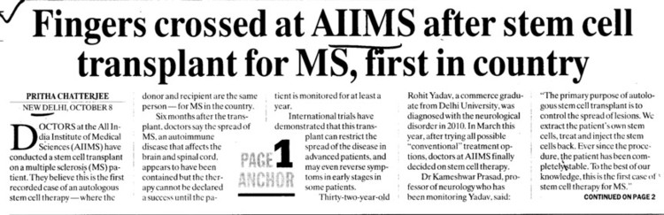 Fingers crossed at AIIMS after stem cell transplant for MS, first in Country (All India Institute of Medical Sciences (AIIMS))