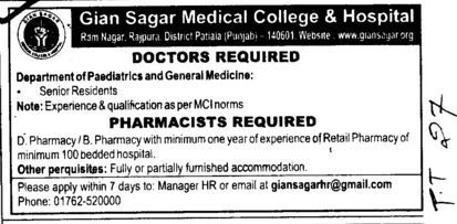 Doctors and Pharmacist (Gian Sagar Medical College and Hospital)