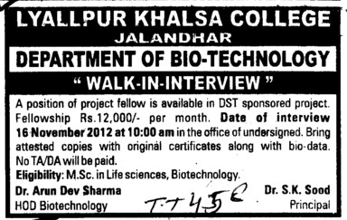 Project Fellow (Lyallpur Khalsa College of Boys)