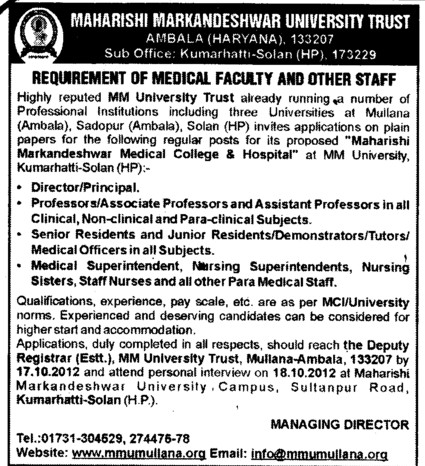 Director, Principal and Staff Nurse etc (Maharishi Markandeshwar University)