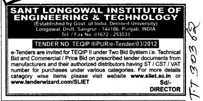 TEQIP II under Technical and Commercial Bid (Sant Longowal Institute of Engineering and Technology SLIET)