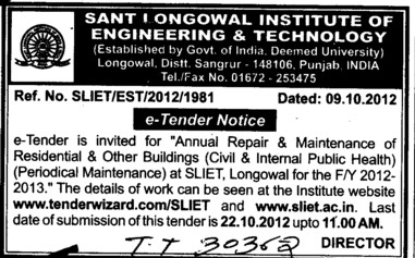 Annual Repair and Maintenance of Residential Buildings etc (Sant Longowal Institute of Engineering and Technology SLIET)