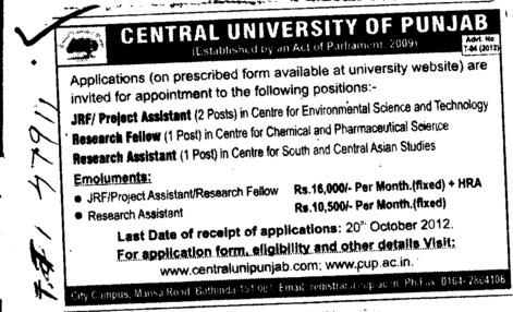 JRF, Research Asstt and Project Asstt etc (Central University of Punjab)