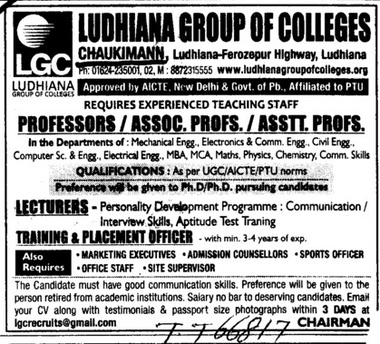 Lecturer and TNP Officer etc (Ludhiana Group of Colleges (LGC) Chowkimann)