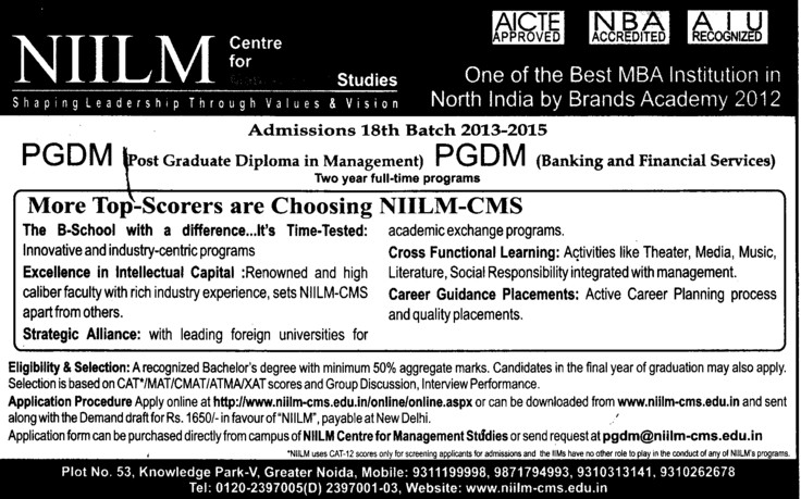 NIILM Centre for Management Studies, Greater Noida ...