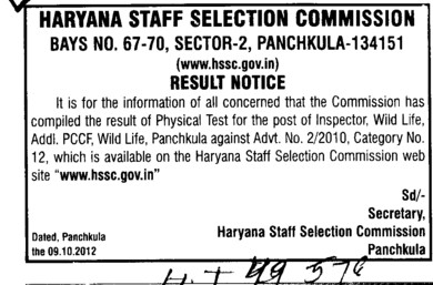 Result Notice of Physical Test for the post of Inspector (Haryana Staff Selection Commission (HSSC))