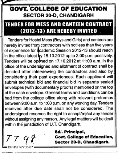Mess and Canteen Contract (Government College of Education (Sector 20))