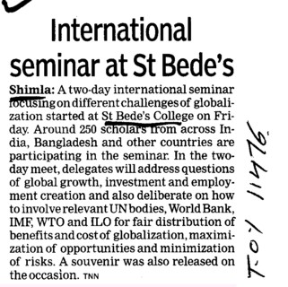 International seminar at St Bedes (St Bedes College)