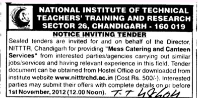 Mess Catering and Canteen Services (NITTTR)