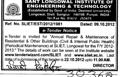 Annual Repair and Maintenance of Buildings (Sant Longowal Institute of Engineering and Technology SLIET)