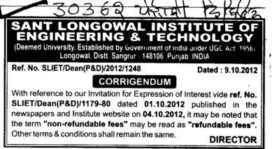 Regarding refundable fees (Sant Longowal Institute of Engineering and Technology SLIET)