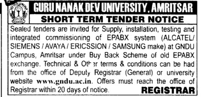 Supply and installation of EPABX system etc (Guru Nanak Dev University (GNDU))