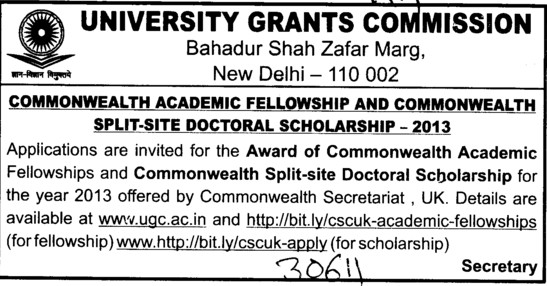 Split site Doctoral Scholarship 2013 (University Grants Commission (UGC))