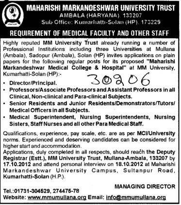 Director, Principal, Senior Residents and Medical Officer etc (Maharishi Markandeshwar University)