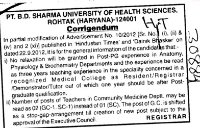 Regarding the post (Pt BD Sharma University of Health Sciences (BDSUHS))