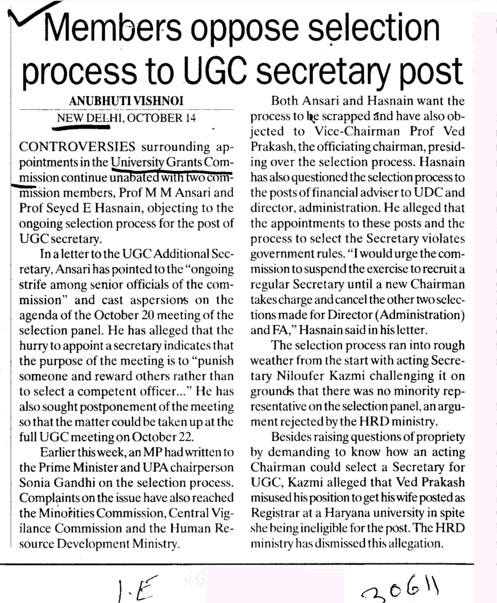 Members oppose selection process to UGC secretary post (University Grants Commission (UGC))