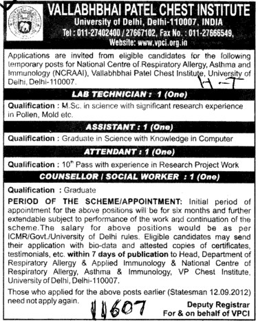 Lab Technician, Attendent and Counsellor etc (Vallabhbhai Patel Chest Institute)