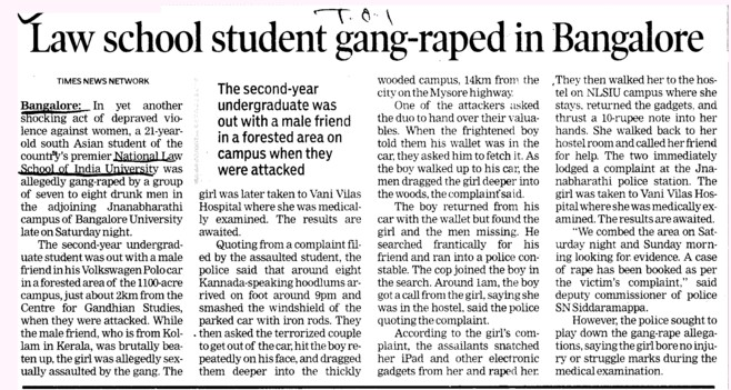 Law school Student gang raped in Bangalore (National Law School of India University (NLSIU))