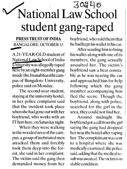 National Law School Student gang raped (National Law School of India University (NLSIU))