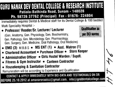 Professor, reader and Sr Lecturer etc (Guru Nanak Dev Dental College)